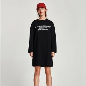 ZARA - Slogan Sweatshirt Dress